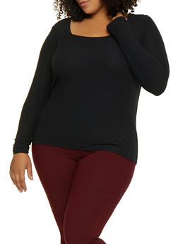 Plus Size Long Sleeve Square Neck Top - 3912015050158