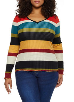 Plus Size Lettuce Edge Striped Top - 3912015050224