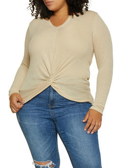 Plus Size Twist Front Thermal Top - 3912015050273