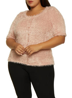 Plus Size Feathered Knit Button Top - 3912015058265
