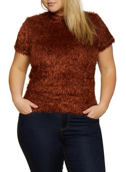 Plus Size Feathered Knit Top - 3912015058266
