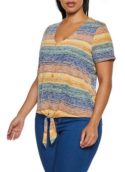 Plus Size Striped Button Front Detail Top - 3912015997560