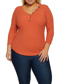 Plus Size Ribbed Button Detail Top - 3912015997582