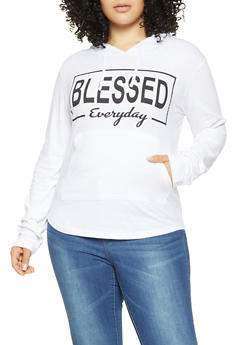Plus Size Blessed Graphic Hooded Top - 3912033870087