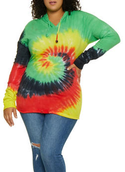 Plus Size Tie Dye Hooded Top | 3912033870305 - 3912033870305