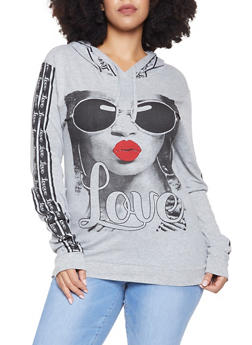 Plus Size Graphic Hooded Top - 3912033870555
