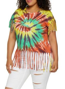 Plus Size Tie Dye Fringe Tee - 3912033870556