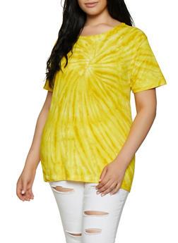Plus Size Tie Dye Crew Neck Tee - 3912033870576