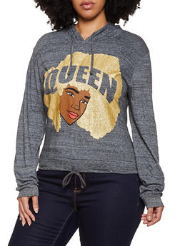 Plus Size Queen Face Graphic Hooded Top - 3912033870835