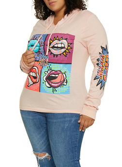 Plus Size Lips Poppin Graphic Hooded Top - 3912033871005