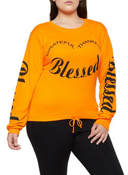 Plus Size Grateful Thankful Blessed Tee - 3912033871514