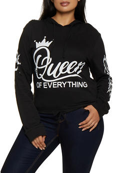 Plus Size Queen of Everything Hooded Tee - 3912033871758