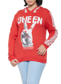 Plus Size Graphic Hooded Top - 3912033872355