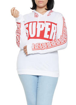 Plus Size Graphic Hooded Top - 3912033872545