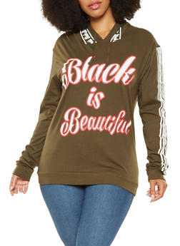 Plus Size Black is Beautiful Graphic Hooded Top - 3912033873185