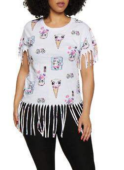 Plus Size Ice Cream Panda Fringe Tee - 3912033873965