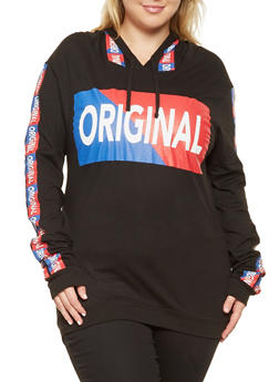 Plus Size Original Graphic Hooded Top - 3912033874145