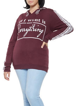 Plus Size Everything Graphic Hooded Top - 3912033874488