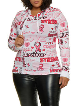 Plus Size Breast Cancer Survivor Hooded Top - 3912033875180