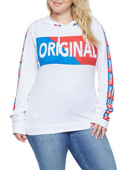 Plus Size Graphic Hooded Top - 3912033875305