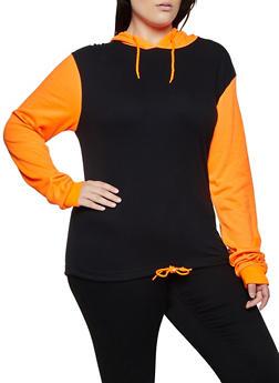 Plus Size Color Block Drawstring Hem Sweatshirt - 3912033875667