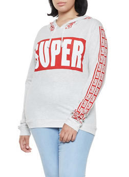 Plus Size Super Graphic Hooded Top - 3912033875766