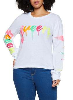 Plus Size Queen Long Sleeve Tee - 3912033876788