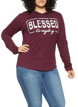 Plus Size Blessed Graphic Hooded Top - 3912033877707