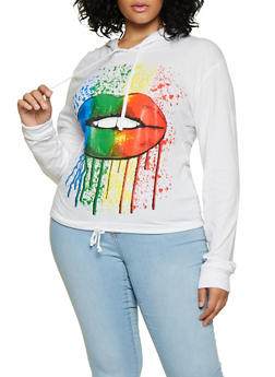 Plus Size Lip Graphic Drawstring Hem Top - 3912033877756