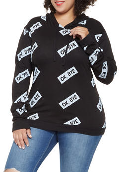 Plus Size Graphic Hooded Top - 3912033877766