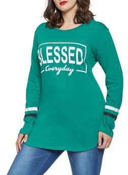 Plus Size Long Sleeve Graphic Tunic Tee - 3912033877879