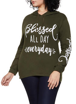 Plus Size Blessed All Day Everyday Hooded Top - 3912033878045