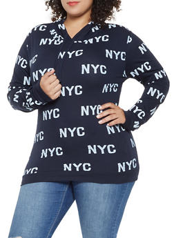 Plus Size NYC Graphic Hooded Top - 3912033878335