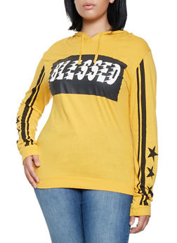 Plus Size Blessed Graphic Hooded Top - 3912033878445