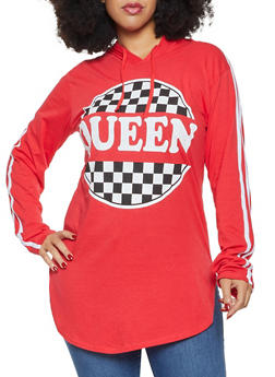 Plus Size Queen Graphic Hooded Tunic Tee - 3912033878635