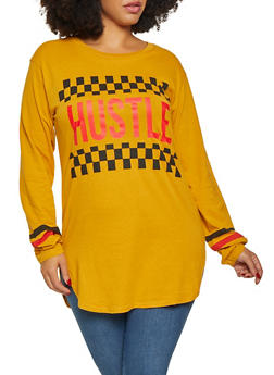 Plus Size Long Sleeve Hustle Graphic Tee - 3912033878799