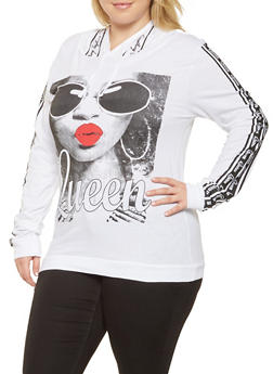 Plus Size Queen Graphic Hooded Top - 3912033878889