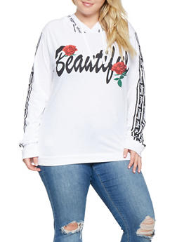 Plus Size Beautiful Graphic Hooded Top - 3912033879195