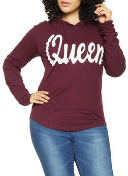 Plus Size Queen Graphic Hooded Top - 3912033879215