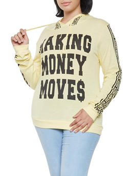 Plus Size Money Moves Graphic Hooded Top - 3912033879278