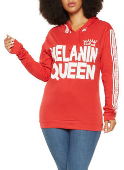 Plus Size Melanin Queen Graphic Hooded Top - 3912033879304
