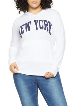 Plus Size New York Graphic Hooded Tee - 3912033879868