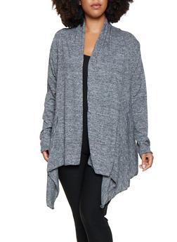 Plus Size Lace Insert Flyaway Cardigan - 3912038343096