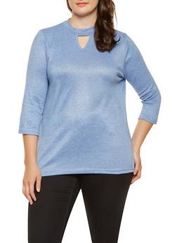 Plus Size Keyhole Choker Neck Sweater - 3912038343098