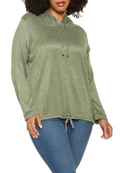 Plus Size Hooded Knit Sweatshirt - 3912038343099