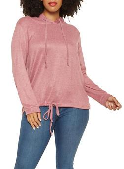 Plus Size Hooded Knit Sweatshirt - 3912038343099