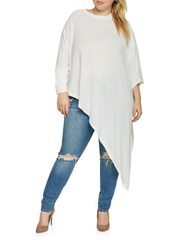 Plus Size Knit One Sleeve Poncho - 3912038343103