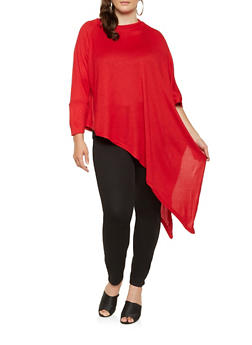 Plus Size Knit One Sleeve Poncho - RED - 3912038343103