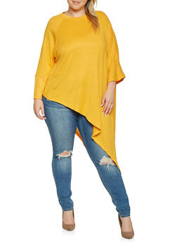 Plus Size Knit One Sleeve Poncho - GOLD - 3912038343103