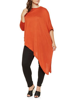 Plus Size Knit One Sleeve Poncho - RUST - 3912038343103